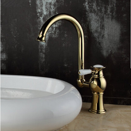 Brass Antique Luxury Gold Plated Single Handle Mixer Water Tap For Both Bathroom and Kitchen TC256H