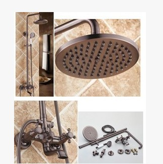 Antique Oil-rubbed Bronze Waterfall Rainfall + Handheld Wall Mount Shower Tap - TFB001