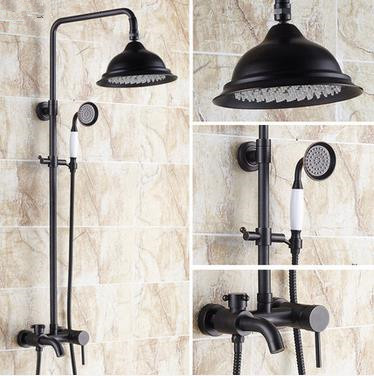 Design Black Bronze Brass Mixer Rainfall Shower Tap TFB533