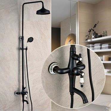 Design Antique Black Bronze Copper mixed shower TFB655