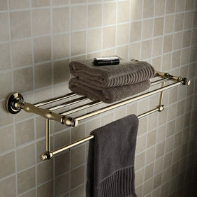 Antique Brass Ti-PVD Wall-mounted Bathroom Shelf With Towel Bar TGB1004