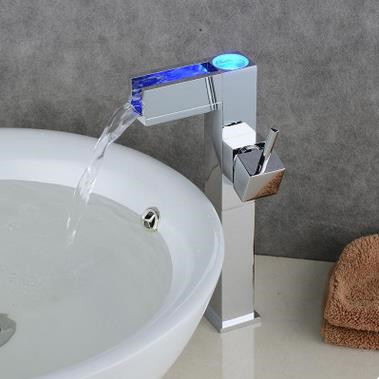 Color Changing LED Waterfall Bathroom Sink Tap Tall TQ0615HF
