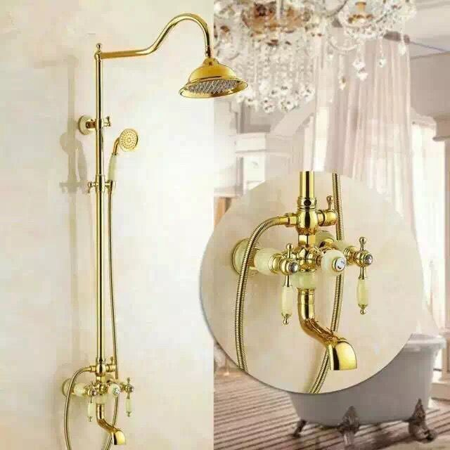 New Design Brass Delicate Bathroom Golden Rainfall Wall Mounted Shower Tap TS1432G