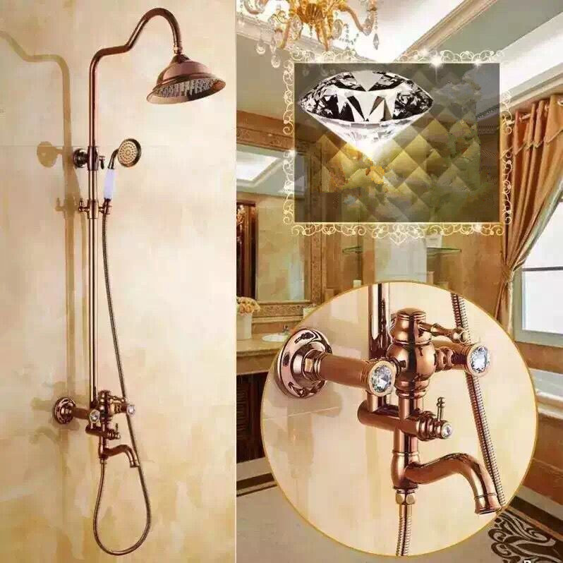 New Luxurious Brass Rose Golden Printed Rainfall Shower Tap TS1585R
