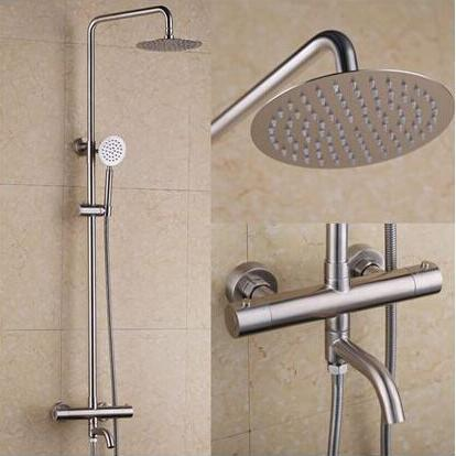 Thermostat Stainless Steel Rainfall Bathroom Shower Set TS336S