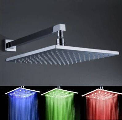 Contemporary 12 inch Brass Color Changing LED Square Shower Head - TS439S