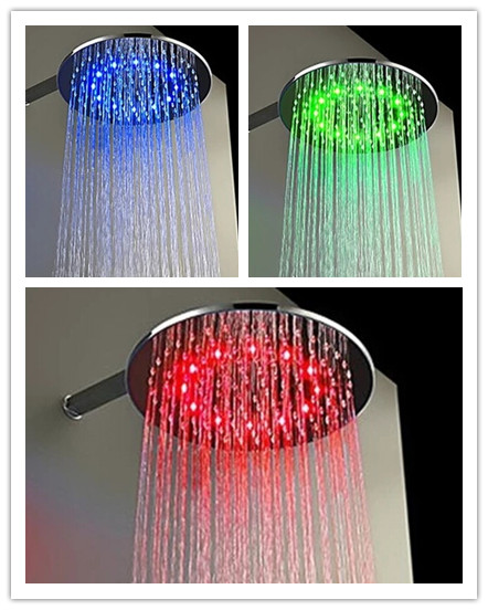 Contemporary 12 inch Brass Color Changing LED Round Shower Head - TS460R
