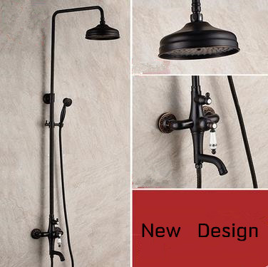 Antique Black Bronze Brass Round Shower Head Rainfall Shower Tap TS655B