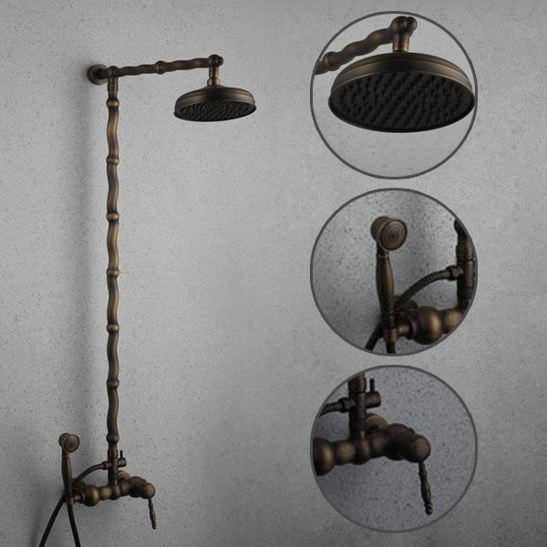 Antique Brass Single Handle Three Holes Wall Mount Rainfall + Handheld Shower Tap TSA006