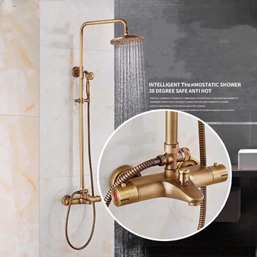 Thermostatic Antique Brass Bathroom Rainfall Shower Sets TSA346