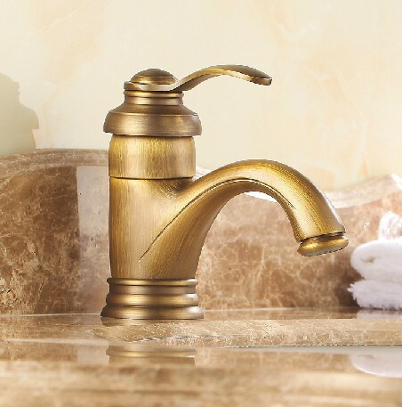 Antique Inspired Brass Bathroom Sink Tap - Polished Brass Finish T0405A