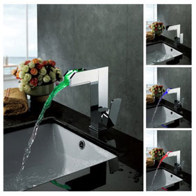 Contemporary Color Changing LED Bathroom Sink Tap - T8005-3