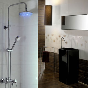 Contemporary Color Changing LED Shower Tap with 8 inch Shower Head + Hand Shower - T330F
