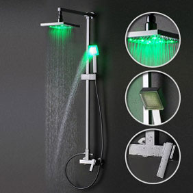 Contemporary Color Changing LED Shower Tap with 8 inch Shower Head Hand Shower - SF001