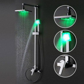 Contemporary Color Changing 8 inch Shower Head + Hand Shower LED Shower Tap - TSF002
