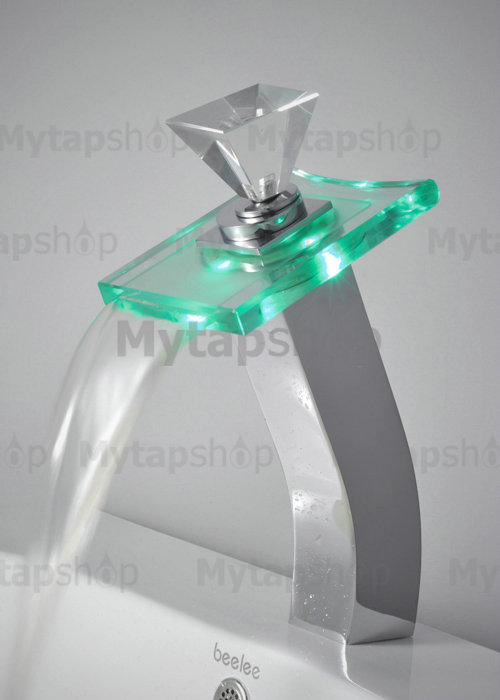 Contemporary Color Changing LED Glass Handle Waterfall Bathroom Sink Tap - T0819HF
