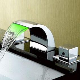 Contemporary Color Changing LED Waterfall Widespread Bathroom Sink tap T6012