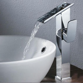 Contemporary Brass Bathroom Sink Tap Chrome Finish T6003 - Click Image to Close
