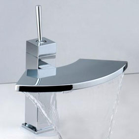 Contemporary Brass Bathroom Sink Tap Chrome Finish T6008