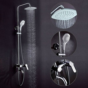 Contemporary 8 inch Shower Head + Hand Shower Shower Tap - TSC004