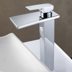 Contemporary Solid Brass Waterfall Bathroom Sink Tap (Tall) T6005H