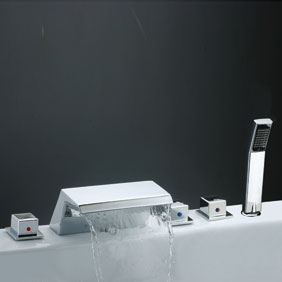 Contemporary Tub Tap with Stainless Steel Spout + Hand Shower T7018