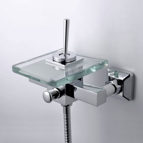 Contemporary Waterfall Tub Tap with Glass Spout Wall Mount T0805-1W