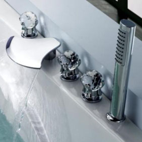 Contemporary Waterfall Tub Waterfall Tap with Hand Shower Glass Handles T6018