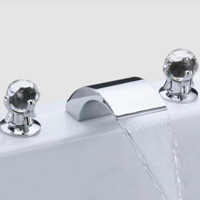Contemporary Widespread Bathroom Sink Tap Crystal Handles T6013