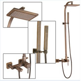 Wall Mount Antique Brass Shower Tap Set TSA012