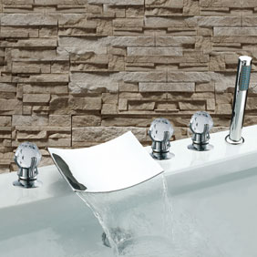 Waterfall Chrome Three Handles Widespread Bathroom Sink Tap T7020