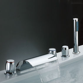 Waterfall Tub Tap with Hand Shower (Three Handles) T7013