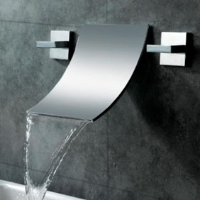 Waterfall Widespread Contemporary Bathroom Sink Tap (Chrome Finish) T6014A