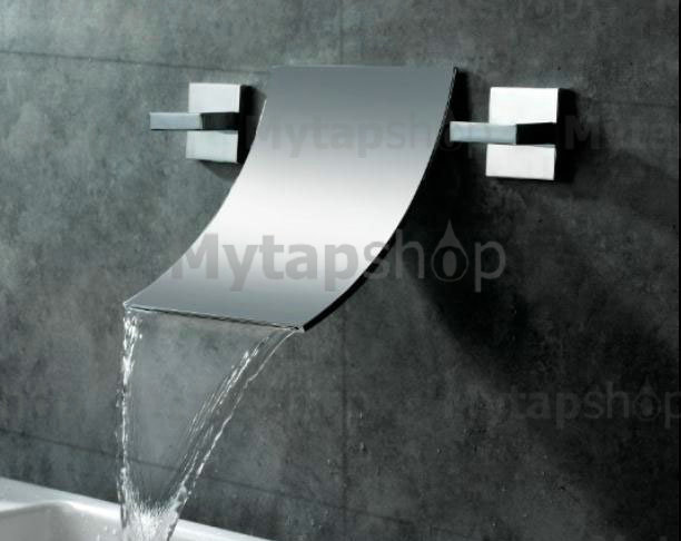 Waterfall Widespread Contemporary Bathroom Sink Tap (Chrome Finish) T6014A - Click Image to Close